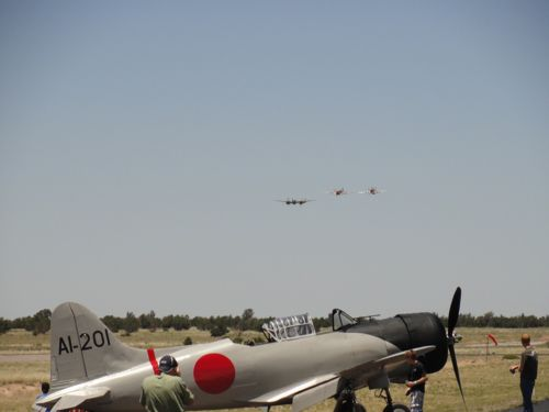 Three allied fighters in formation